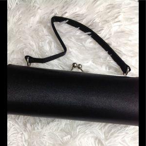 Handbags - Hard-sided satin evening bag w/ metallic clasp